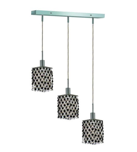 Elegant Lighting 1383D-O-S-JT/RC Mini 3 Light 15 inch Chrome Pendant Ceiling Light in Jet, Royal Cut, Rectangle, Square photo