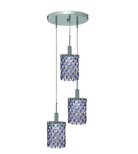 Elegant Lighting Mini 3 Light Pendant in Chrome with Royal Cut Sapphire (Blue) Crystals 1383D-R-E-SA/RC photo