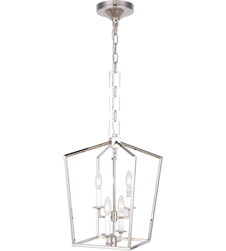 Elegant Lighting 1512D17PN Denmark 4 Light 17 inch Polished Nickel Pendant  Ceiling Light, Urban Classic - Elegant Lighting 1512D17PN Denmark 4 Light 17 Inch Polished Nickel