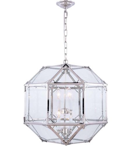 Elegant Lighting 1514d19pn Gordon 4 Light 19 Inch Polished Nickel Pendant Ceiling Urban Clic