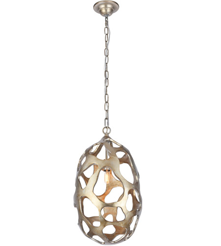 Elegant Lighting 1545D12GS Bombay 1 Light 12 inch Gilded Silver Chandelier Ceiling Light, Urban Classic photo thumbnail