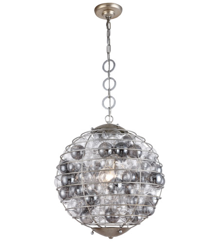 Elegant Lighting 1702d18asl Bellagio 1 Light 18 Inch Antique Silver Leaf Pendant Ceiling Urban