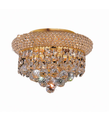 Elegant Lighting V1800F10G/RC Primo 3 Light 10 inch Gold Flush Mount Ceiling Light in Royal Cut photo