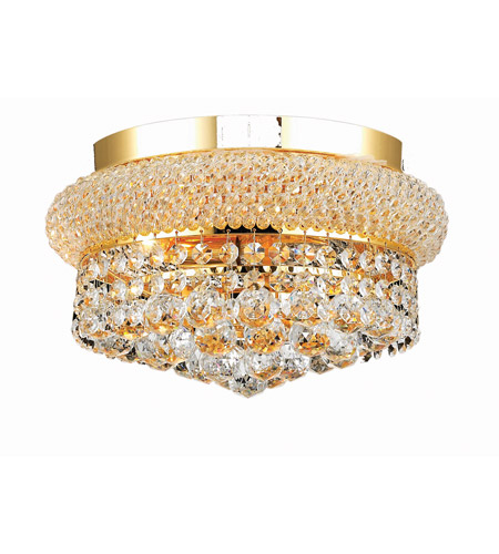 Elegant Lighting Primo 4 Light Flush Mount in Gold with Swarovski Strass Clear Crystal 1800F12G/SS photo