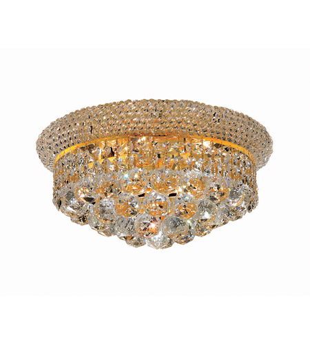 Elegant Lighting Primo 6 Light Flush Mount in Gold with Swarovski Strass Clear Crystal 1800F14G/SS photo