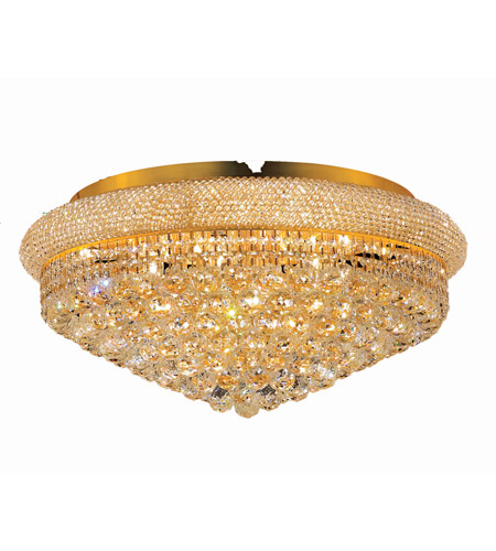 Elegant Lighting Primo 15 Light Flush Mount in Gold with Swarovski Strass Clear Crystal 1800F28G/SS photo