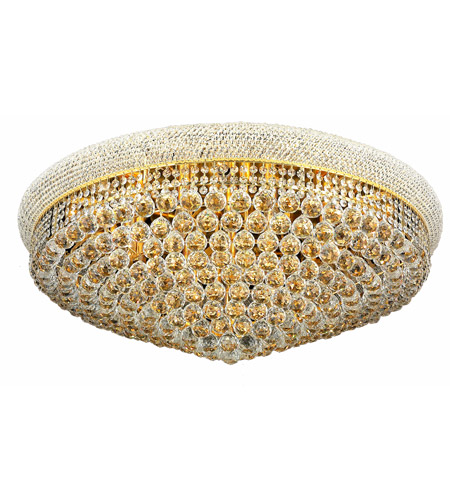 Elegant Lighting Primo 20 Light Flush Mount in Gold with Swarovski Strass Clear Crystal 1800F36G/SS photo