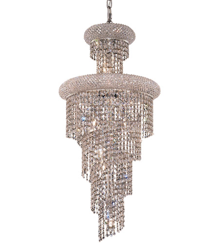Elegant Lighting 1800SR16C/RC Spiral 10 Light 16 inch Chrome Dining Chandelier Ceiling Light in Royal Cut photo