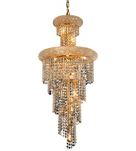 Elegant Lighting 1800SR16G/EC Spiral 10 Light 16 inch Gold Dining Chandelier Ceiling Light in Elegant Cut photo