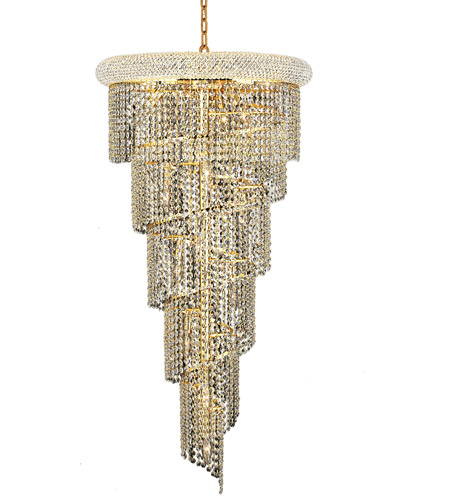 Elegant Lighting V1801SR22G/RC Spiral 18 Light 22 inch Gold Foyer Ceiling Light in Royal Cut photo thumbnail