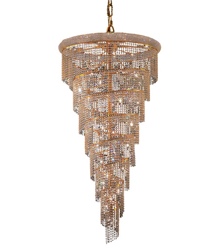 Elegant Lighting V1801SR36G/RC Spiral 26 Light 36 inch Gold Foyer Ceiling Light in Royal Cut photo thumbnail