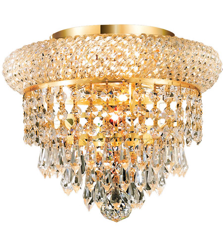 Elegant Lighting Primo 3 Light Flush Mount in Gold with Spectra Swarovski Clear Crystal 1802F10G/SA photo