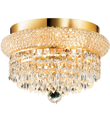 Elegant Lighting Primo 4 Light Flush Mount in Gold with Swarovski Strass Clear Crystal 1802F12G/SS photo