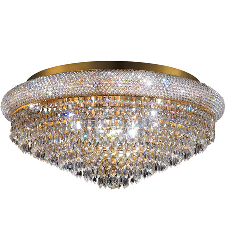 Elegant Lighting Primo 15 Light Flush Mount in Gold with Elegant Cut Clear Crystal 1802F28G/EC photo