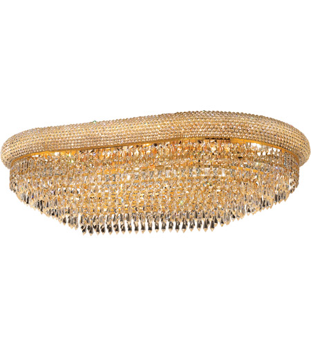 Elegant Lighting Primo 18 Light Flush Mount in Gold with Swarovski Strass Clear Crystal 1802F36SG/SS photo