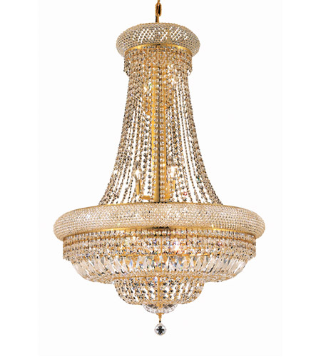 Elegant Lighting Primo 14 Light Dining Chandelier in Gold with Royal Cut Clear Crystal 1803D28G/RC photo