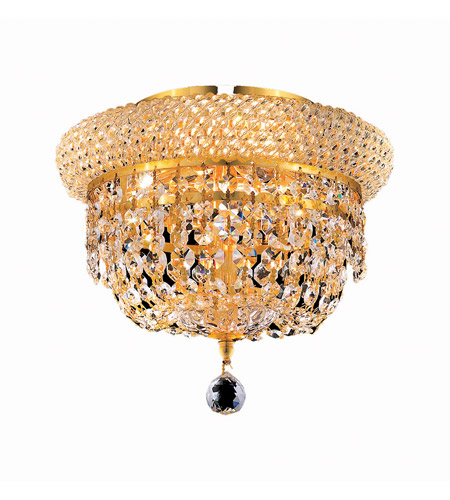 Elegant Lighting 1803F10G/SS Primo 3 Light 10 inch Gold Flush Mount Ceiling Light in Swarovski Strass photo