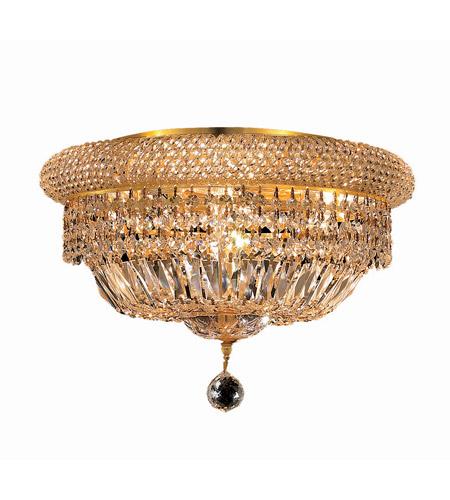 Elegant Lighting Primo 8 Light Flush Mount in Gold with Swarovski Strass Clear Crystal 1803F16G/SS photo