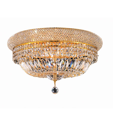 Elegant Lighting Primo 10 Light Flush Mount in Gold with Spectra Swarovski Clear Crystal 1803F20G/SA photo