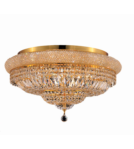 Elegant Lighting 1803F28G/SS Primo 15 Light 28 inch Gold Flush Mount Ceiling Light in Swarovski Strass photo
