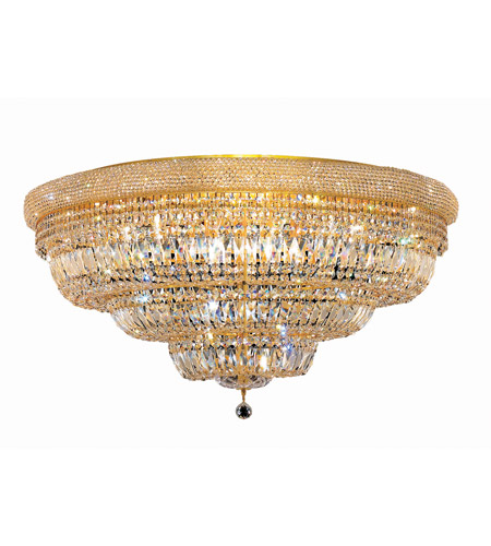 Elegant Lighting Primo 30 Light Flush Mount in Gold with Elegant Cut Clear Crystal 1803F42G/EC photo