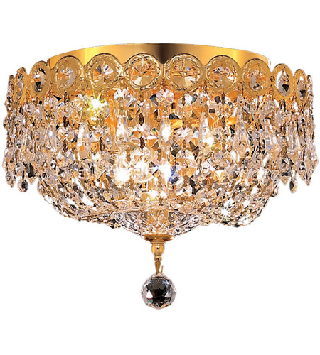 Elegant Lighting Century 3 Light Flush Mount in Gold with Spectra Swarovski Clear Crystal 1900F10G/SA photo