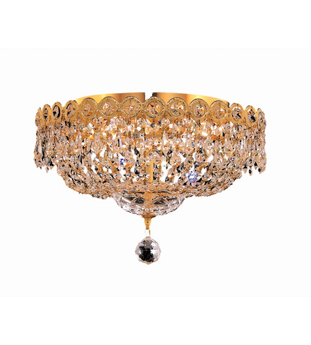 Elegant Lighting Century 4 Light Flush Mount in Gold with Royal Cut Clear Crystal 1900F14G/RC photo