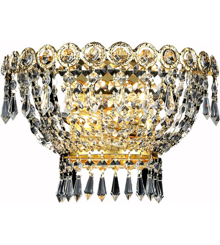Elegant Lighting Century 2 Light Wall Sconce in Gold with Royal Cut Clear Crystal 1900W12G/RC photo