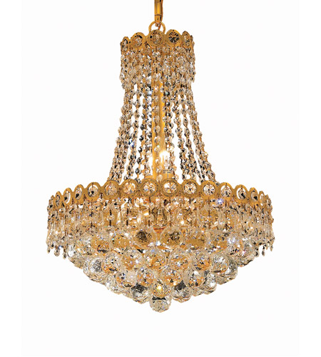Elegant Lighting 1901D16G/RC Century 8 Light 16 inch Gold Dining Chandelier Ceiling Light in Royal Cut photo