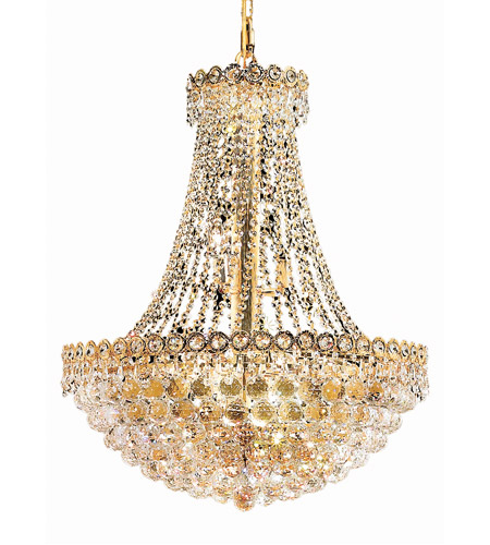 Elegant Lighting Century 12 Light Dining Chandelier in Gold with Elegant Cut Clear Crystal 1901D24G/EC photo