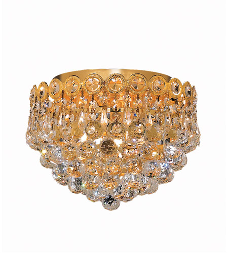 Elegant Lighting 1901F10G/EC Century 3 Light 10 inch Gold Flush Mount Ceiling Light in Elegant Cut photo
