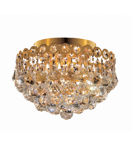 Elegant Lighting Century 4 Light Flush Mount in Gold with Royal Cut Clear Crystal 1901F12G/RC photo