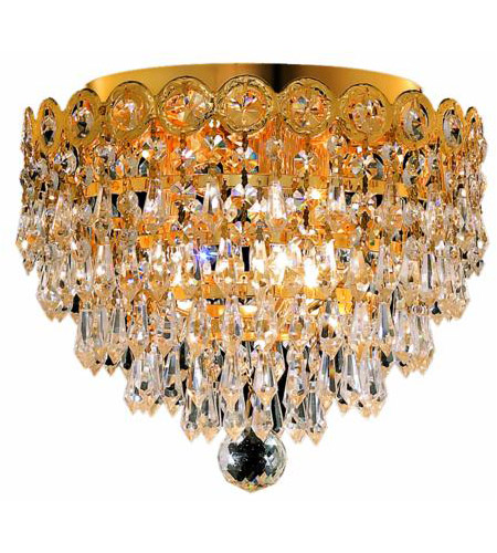 Elegant Lighting Century 3 Light Flush Mount in Gold with Swarovski Strass Clear Crystal 1902F10G/SS photo