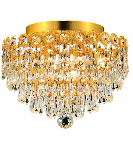 Elegant Lighting Century 4 Light Flush Mount in Gold with Royal Cut Clear Crystal 1902F12G/RC photo