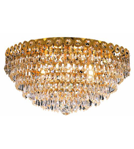 Elegant Lighting Century 6 Light Flush Mount in Gold with Swarovski Strass Clear Crystal 1902F18G/SS photo
