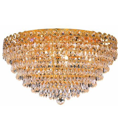 Elegant Lighting Century 9 Light Flush Mount in Gold with Swarovski Strass Clear Crystal 1902F20G/SS photo