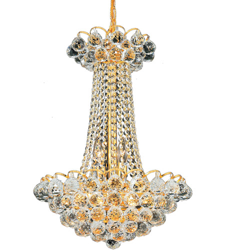 Elegant Lighting Godiva 9 Light Dining Chandelier in Gold with Spectra Swarovski Clear Crystal 2001D16G/SA photo