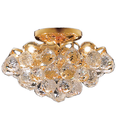 Elegant Lighting Godiva 3 Light Flush Mount in Gold with Royal Cut Clear Crystal 2001F12G/RC photo