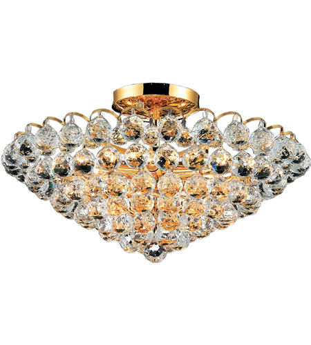 Elegant Lighting Godiva 9 Light Flush Mount in Gold with Swarovski Strass Clear Crystal 2001F21G/SS photo