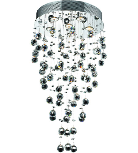 Elegant Lighting Galaxy 6 Light Dining Chandelier in Chrome with Royal Cut Clear Crystal 2006D18C/RC photo