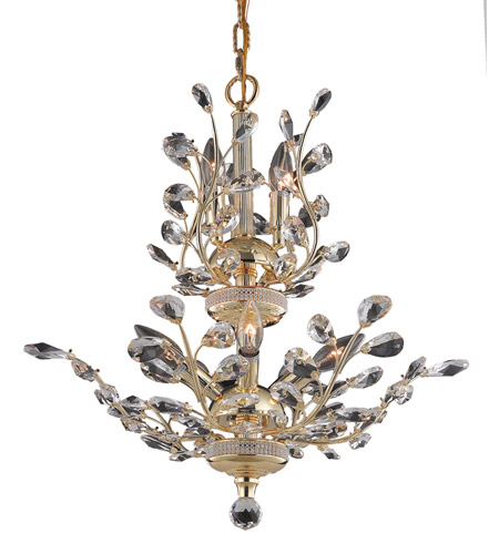 Elegant Lighting Orchid 8 Light Dining Chandelier in Gold with Spectra Swarovski Clear Crystal 2011D21G/SA photo