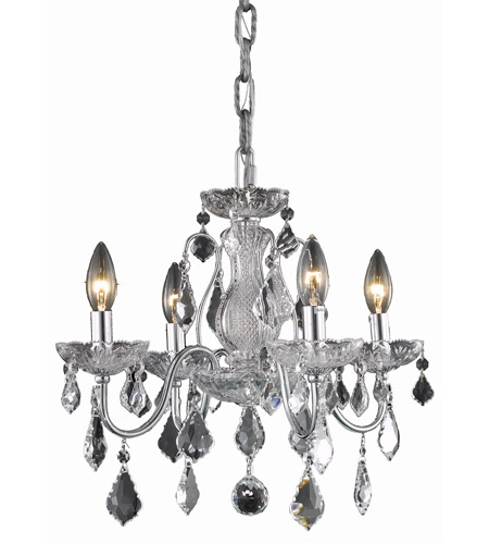 Elegant Lighting St. Francis 4 Light Dining Chandelier in Chrome with Elegant Cut Clear Crystal 2015D17C/EC photo