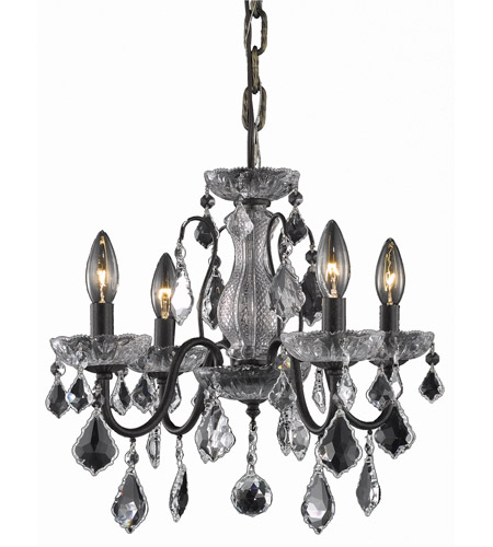 Elegant Lighting St. Francis 4 Light Dining Chandelier in Dark Bronze with Swarovski Strass Clear Crystal 2015D17DB/SS photo