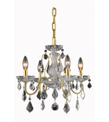 Elegant Lighting St. Francis 4 Light Dining Chandelier in Gold with Elegant Cut Clear Crystal 2015D17G/EC photo