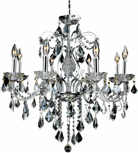 Elegant Lighting 2015D26C/RC St. Francis 8 Light 26 inch Chrome Dining Chandelier Ceiling Light in Clear, Royal Cut, (None) photo
