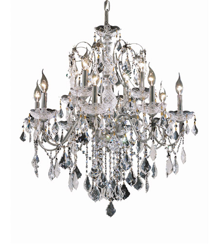 Elegant Lighting St. Francis 12 Light Dining Chandelier in Chrome with Royal Cut Clear Crystal 2015D28C/RC photo