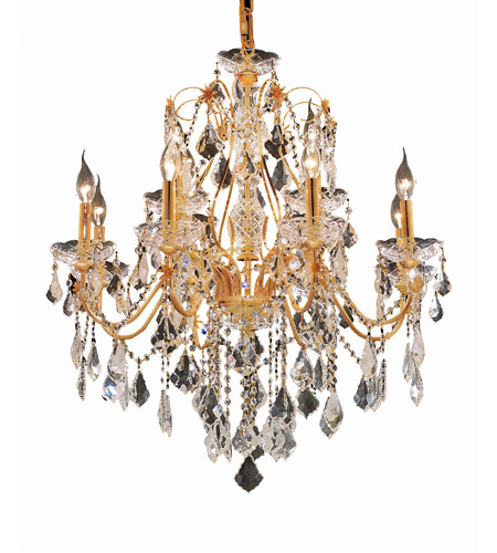 Elegant Lighting 2015D28G/SA St. Francis 12 Light 28 inch Gold Dining Chandelier Ceiling Light in Spectra Swarovski photo