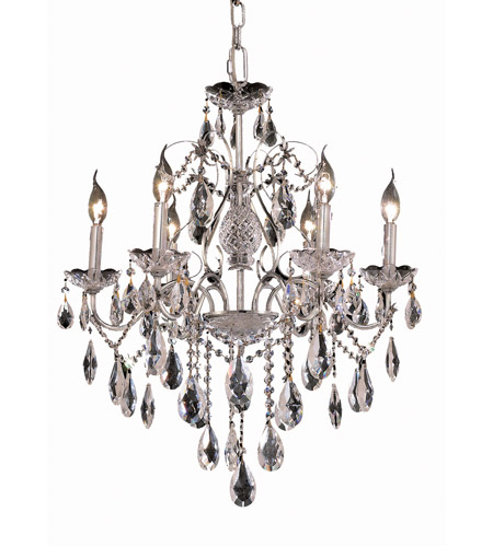 Elegant Lighting 2016D24C/SS St. Francis 6 Light 24 inch Chrome Dining Chandelier Ceiling Light in Swarovski Strass, (None) photo