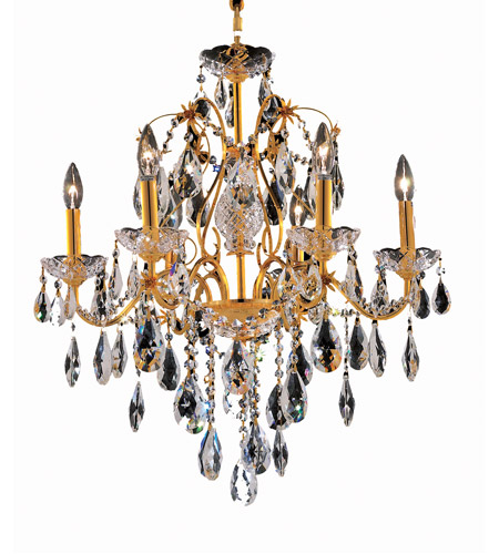 Elegant Lighting 2016D24G/SS St. Francis 6 Light 24 inch Gold Dining Chandelier Ceiling Light in Swarovski Strass, (None) photo