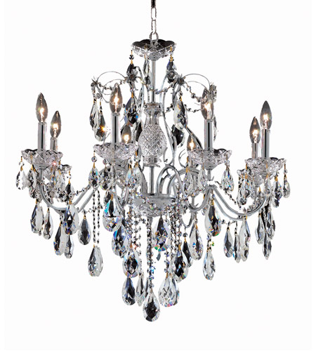Elegant Lighting 2016D26C/RC St. Francis 8 Light 26 inch Chrome Dining Chandelier Ceiling Light in Royal Cut, (None) photo